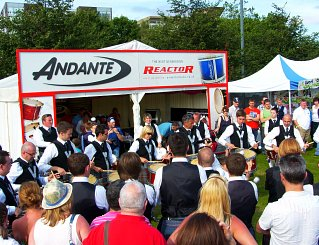 Crowds outside the Andante stand at the Worlds 2012