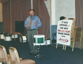 Sam speaking at the launch of the Reactor Snare Drum back in 2000.