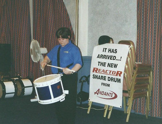Lee Lawson playing the Reactor Snare Drum at the launch in 2000.
