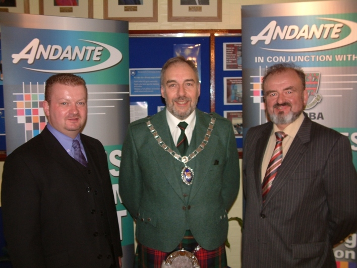 Nigel Hodgen, George Ussher & Sam Hodgen at the World Solo Drumming Championships held in Bathgate, Scotland in 1999 Sponsored by Andante and is still sponsored by them today.