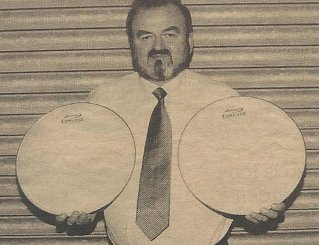 Sam Hodgen display's his latest product from Andante, the iconic 'Coretec' snare drum heads, launch in April 2002.