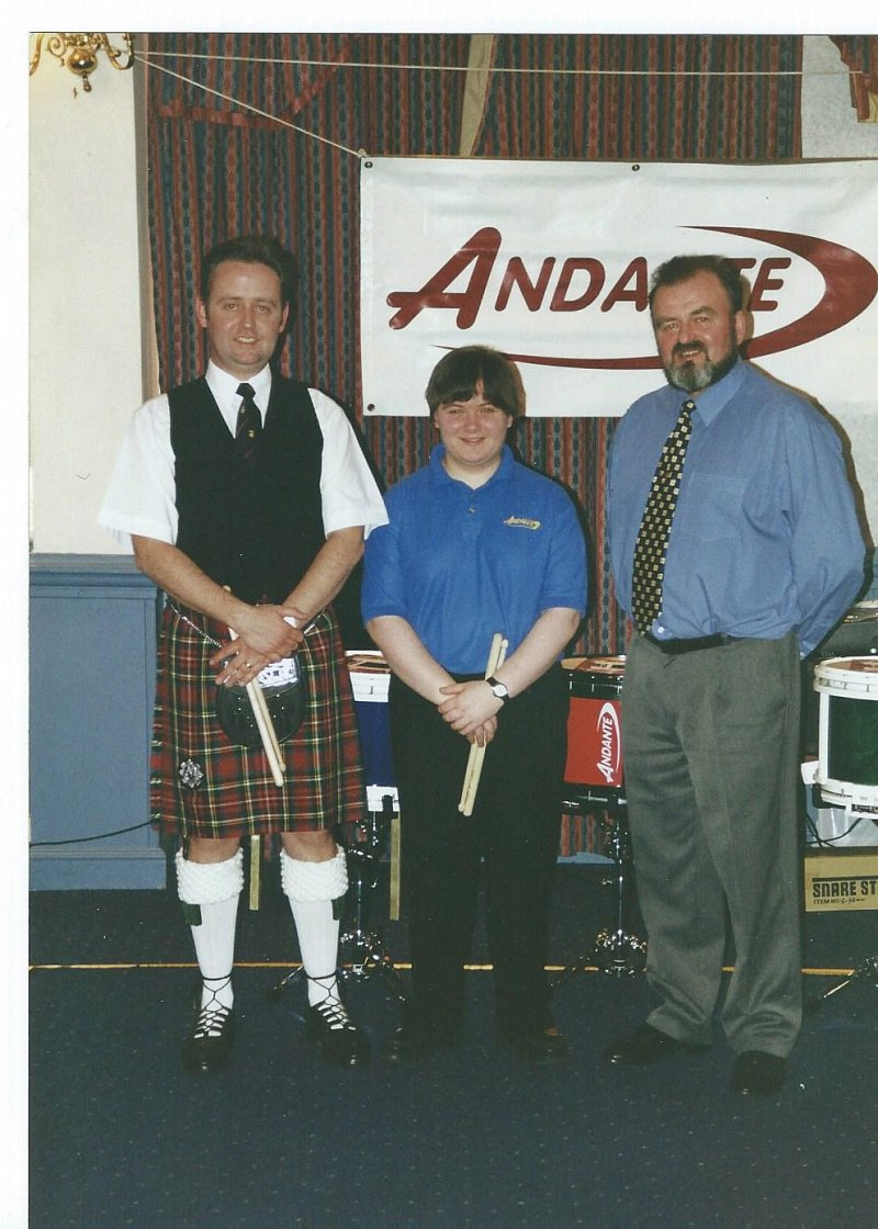 Arthur Cook, Lee Lawson with Sam at the launch of the New Reactor Snare Drum in 2000.