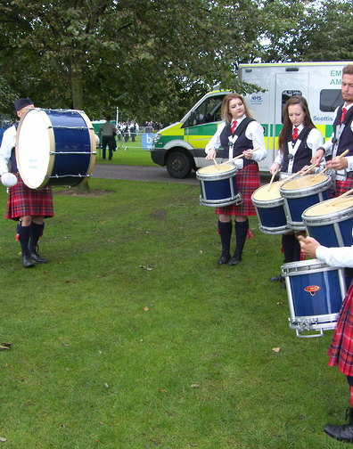 Arbroath Pipe Band practising beside the stand, at the 2016 Worlds